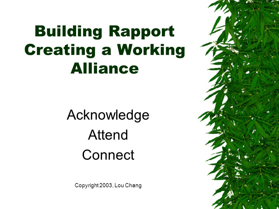 Building Rapport Creating a Working Alliance Acknowledge Attend Connect Copyright 2003, Lou Chang