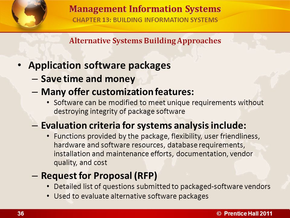 Management Information Systems Application software packages – Save time and money – Many offer customization features: Software can be modified to me