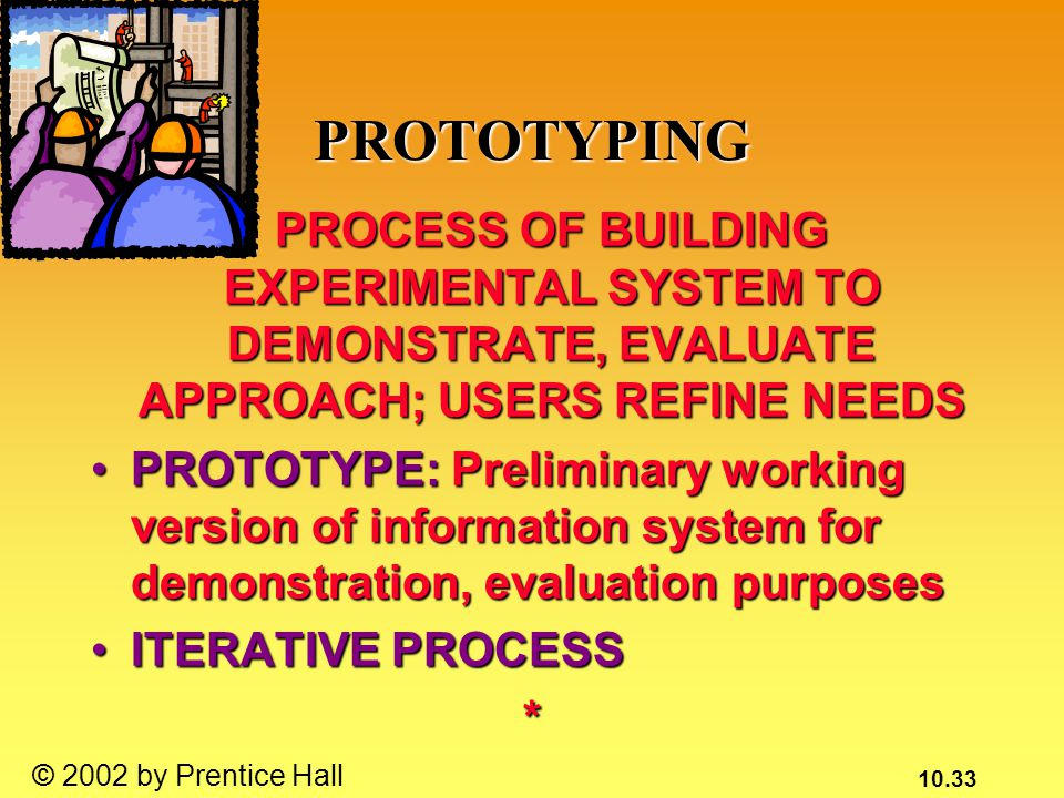 10.33 © 2002 by Prentice Hall PROTOTYPING PROCESS OF BUILDING EXPERIMENTAL SYSTEM TO DEMONSTRATE, EVALUATE APPROACH; USERS REFINE NEEDS PROCESS OF BUILDING EXPERIMENTAL SYSTEM TO DEMONSTRATE, EVALUATE APPROACH; USERS REFINE NEEDS PROTOTYPE: Preliminary working version of information system for demonstration, evaluation purposesPROTOTYPE: Preliminary working version of information system for demonstration, evaluation purposes ITERATIVE PROCESSITERATIVE PROCESS*