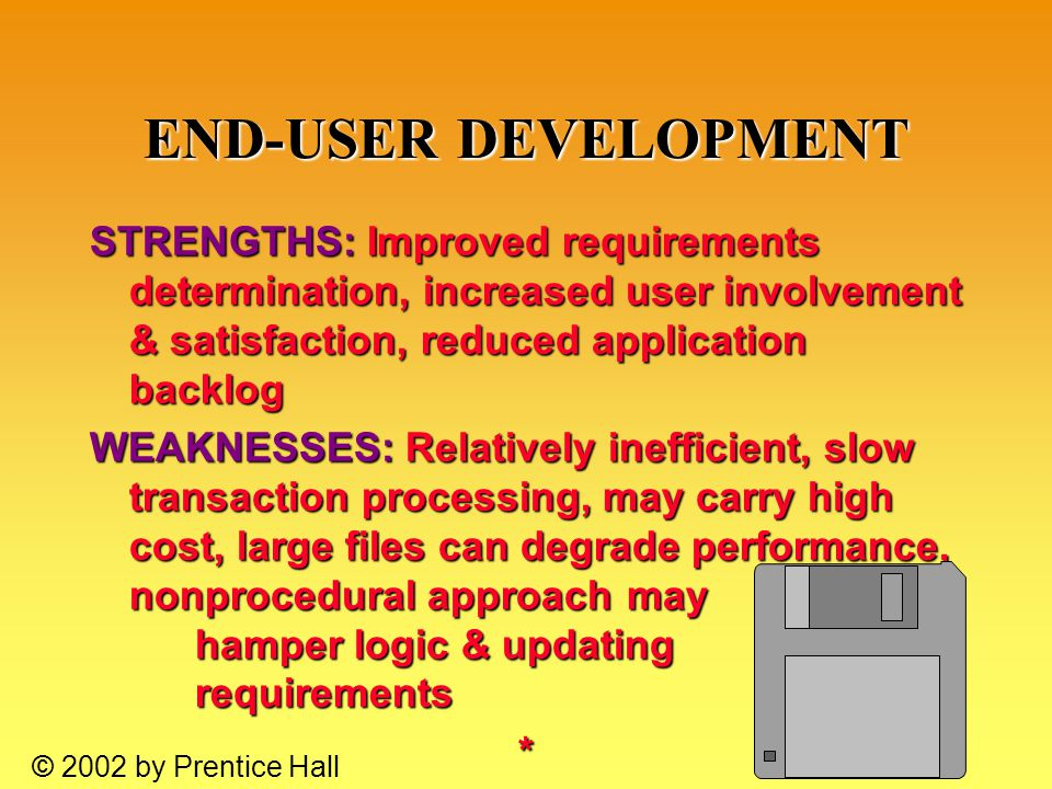 10.38 © 2002 by Prentice Hall END-USER DEVELOPMENT STRENGTHS: Improved requirements determination, increased user involvement & satisfaction, reduced application backlog WEAKNESSES: Relatively inefficient, slow transaction processing, may carry high cost, large files can degrade performance, nonprocedural approach may hamper logic & updating requirements *