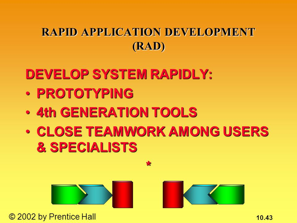 10.43 © 2002 by Prentice Hall RAPID APPLICATION DEVELOPMENT (RAD) DEVELOP SYSTEM RAPIDLY: PROTOTYPINGPROTOTYPING 4th GENERATION TOOLS4th GENERATION TOOLS CLOSE TEAMWORK AMONG USERS & SPECIALISTSCLOSE TEAMWORK AMONG USERS & SPECIALISTS*