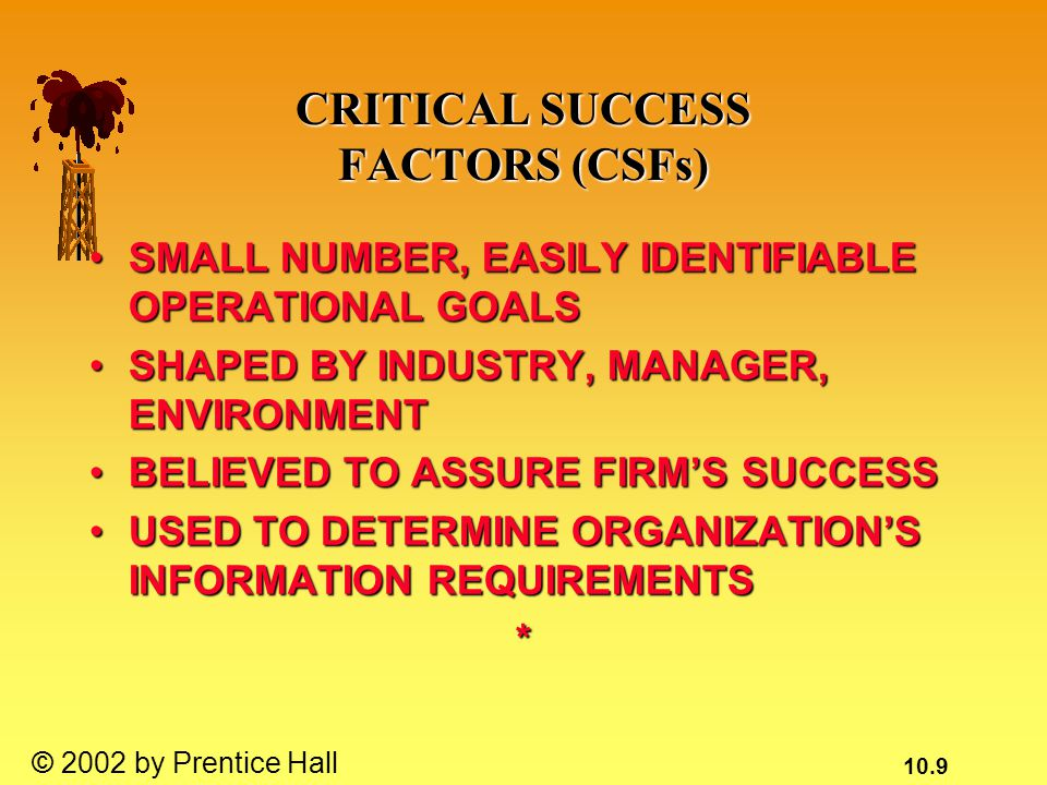 10.9 © 2002 by Prentice Hall CRITICAL SUCCESS FACTORS (CSFs) SMALL NUMBER, EASILY IDENTIFIABLE OPERATIONAL GOALSSMALL NUMBER, EASILY IDENTIFIABLE OPERATIONAL GOALS SHAPED BY INDUSTRY, MANAGER, ENVIRONMENTSHAPED BY INDUSTRY, MANAGER, ENVIRONMENT BELIEVED TO ASSURE FIRM'S SUCCESSBELIEVED TO ASSURE FIRM'S SUCCESS USED TO DETERMINE ORGANIZATION'S INFORMATION REQUIREMENTSUSED TO DETERMINE ORGANIZATION'S INFORMATION REQUIREMENTS*