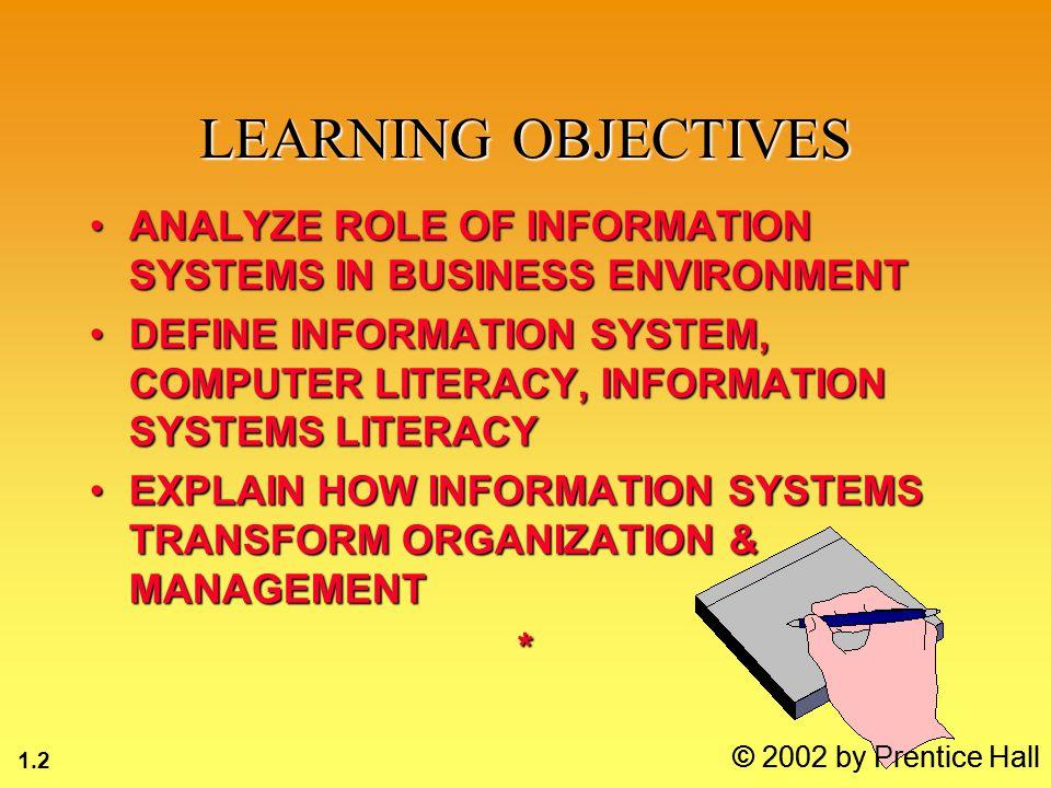 1.13 © 2002 by Prentice Hall SYSTEM INPUTOUTPUTPROCESS FEEDBACK
