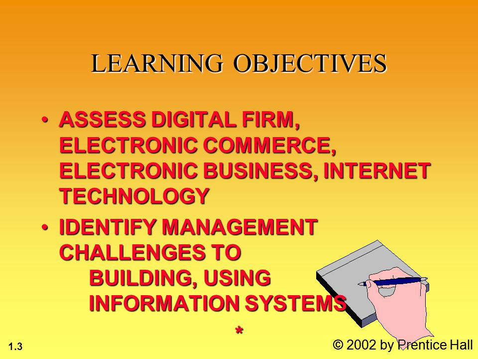 1.14 © 2002 by Prentice Hall FUNCTIONS OF AN INFORMATION SYSTEM INPUTOUTPUTPROCESS FEEDBACK INFORMATION SYSTEM ENVIRONMENT Customers Suppliers Regulatory Stockholders Competitors Agencies ORGANIZATION