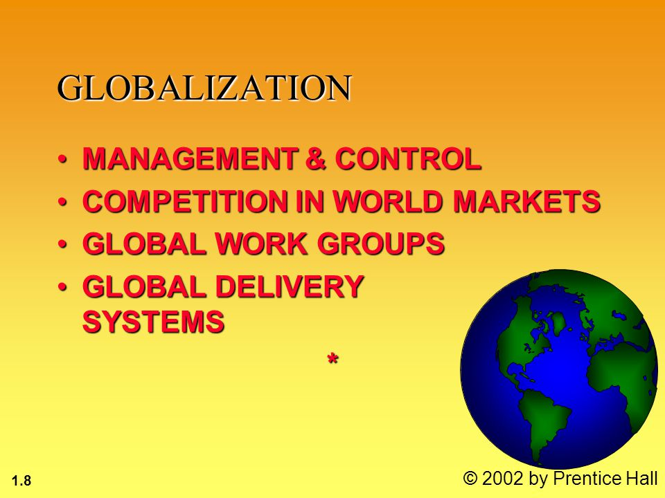 1.19 © 2002 by Prentice Hall ORGANIZATIONS OPERATING PROCEDURES: Standard Operating Procedures (SOP), rules for actionOPERATING PROCEDURES: Standard Operating Procedures (SOP), rules for action POLITICS: Power to persuade, get things donePOLITICS: Power to persuade, get things done CULTURE: Customs of behaviorCULTURE: Customs of behavior*