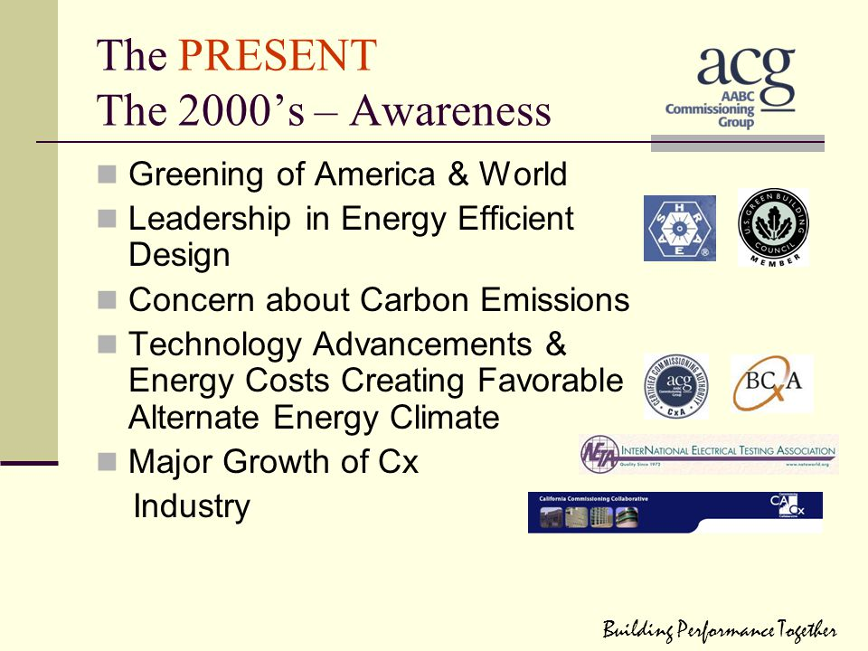 The PRESENT The 2000's – Awareness Greening of America & World Leadership in Energy Efficient Design Concern about Carbon Emissions Technology Advance
