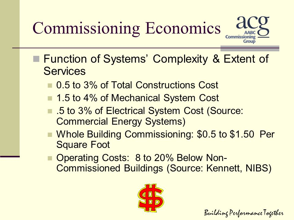 Commissioning Economics Function of Systems' Complexity & Extent of Services 0.5 to 3% of Total Constructions Cost 1.5 to 4% of Mechanical System Cost