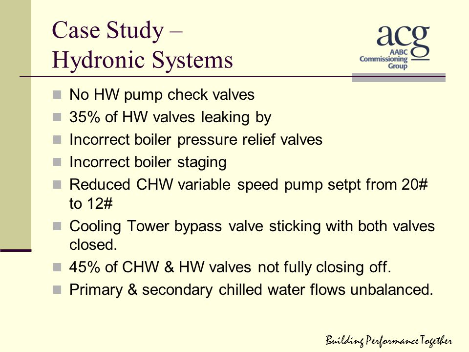 Case Study – Hydronic Systems No HW pump check valves 35% of HW valves leaking by Incorrect boiler pressure relief valves Incorrect boiler staging Red