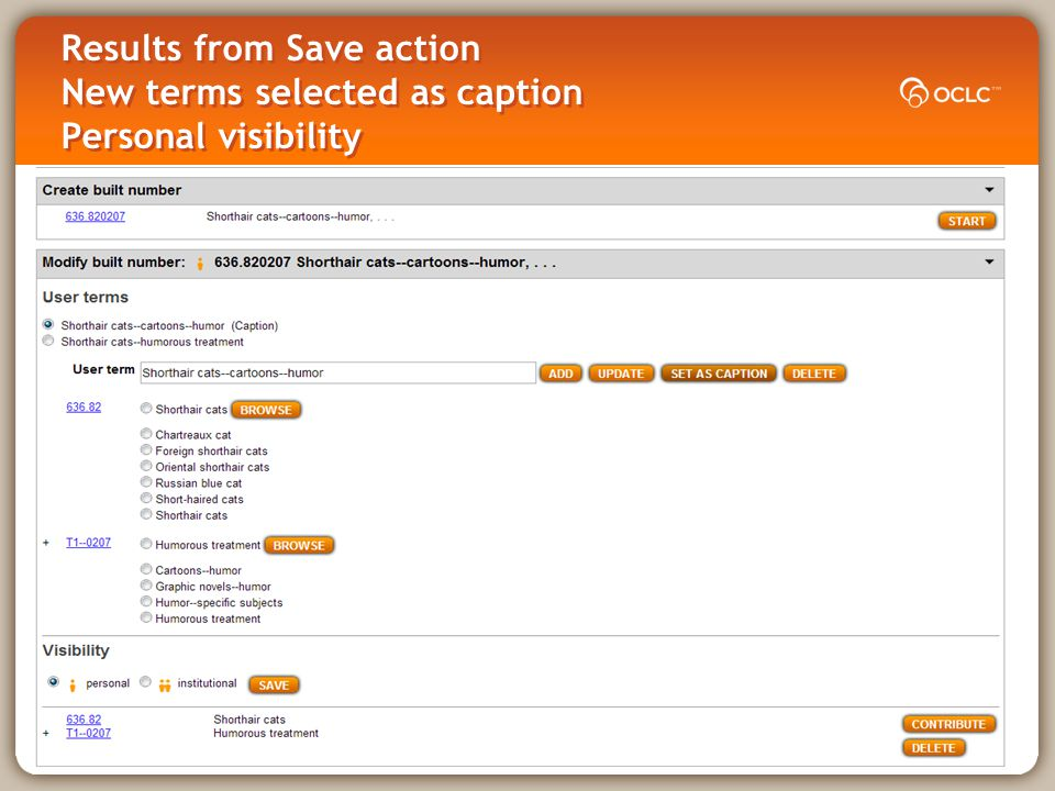 Results from Save action New terms selected as caption Personal visibility