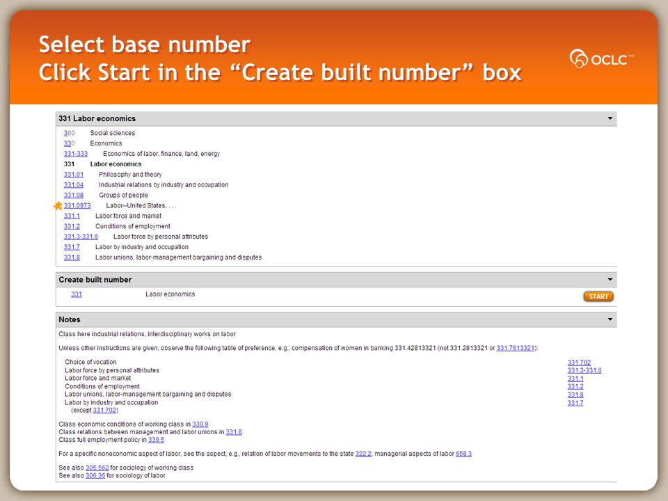 Select base number Click Start in the Create built number box