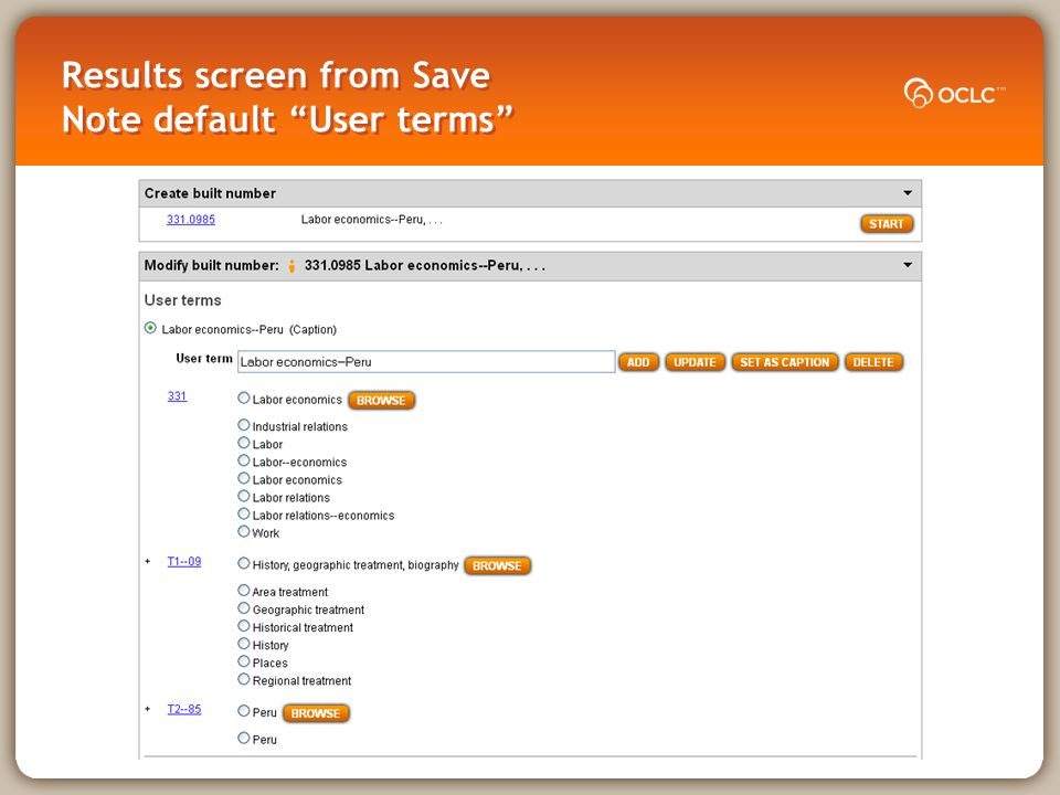 Results screen from Save Note default User terms
