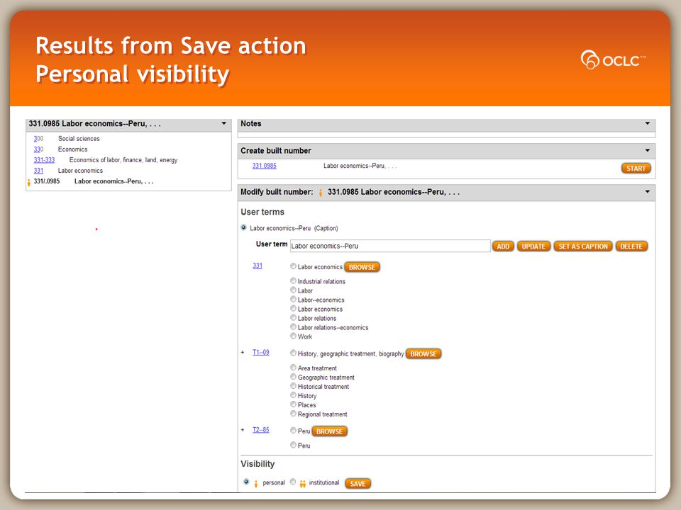 Results from Save action Personal visibility