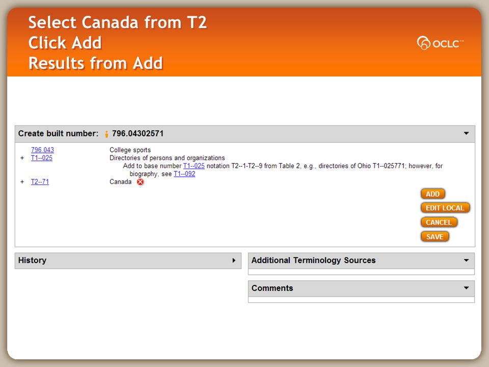 Select Canada from T2 Click Add Results from Add