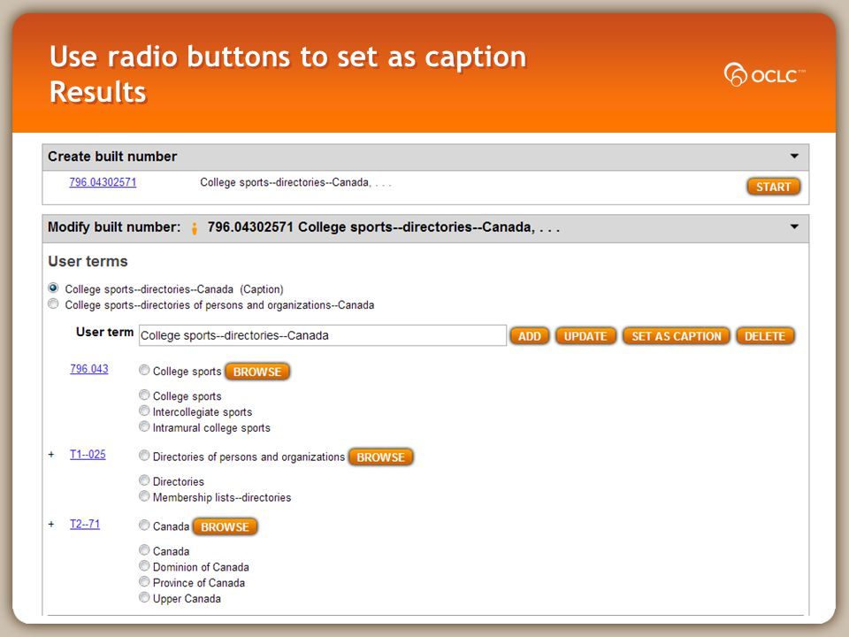 Use radio buttons to set as caption Results