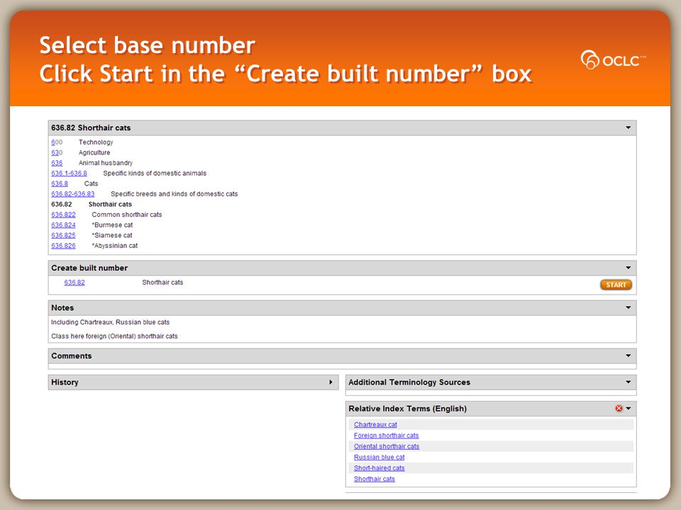 Example 3 Create a new number for directories of College sports in the Canada Start with the base number Add standard subdivision Add /edit user terms Save for institutional or personal use and contribute to Dewey editors