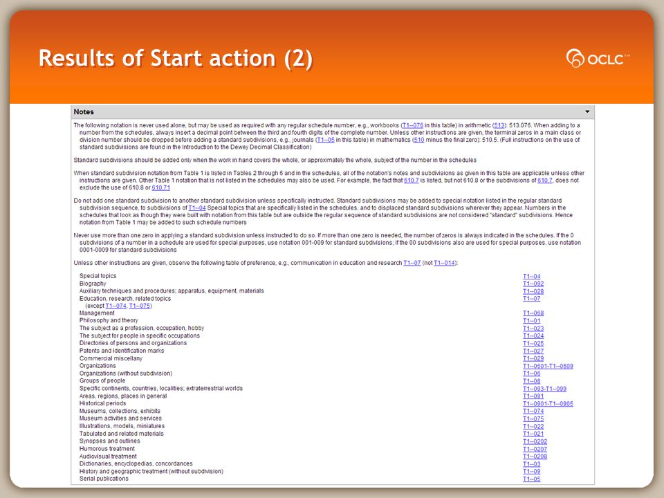 Results of Start action (2)