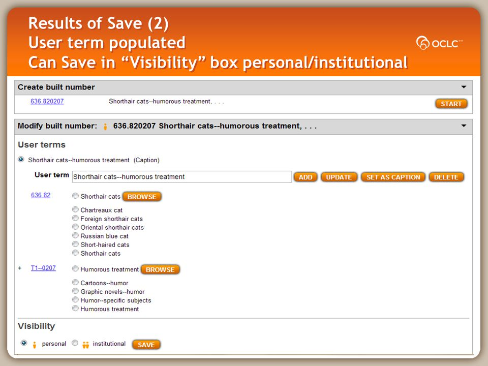 Results of Save (2) User term populated Can Save in Visibility box personal/institutional
