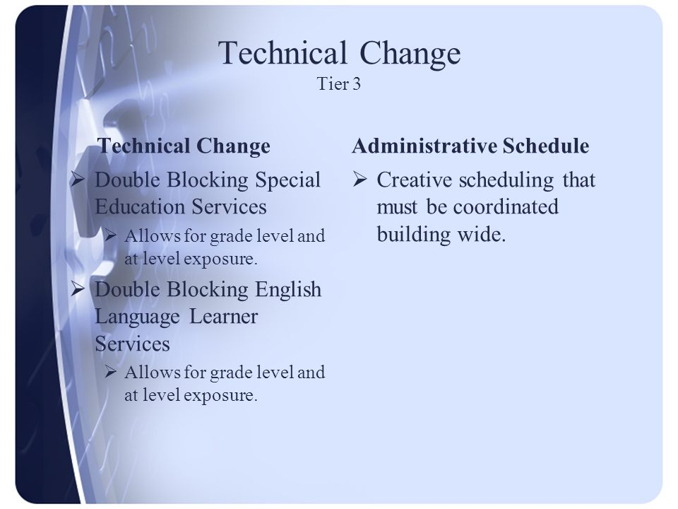 Technical Change Tier 3 Technical Change  Double Blocking Special Education Services  Allows for grade level and at level exposure.  Double Blockin