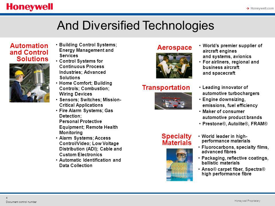 Honeywell Proprietary Honeywell.com  4 Document control number Leading innovator of automotive turbochargers Engine downsizing, emissions, fuel effic