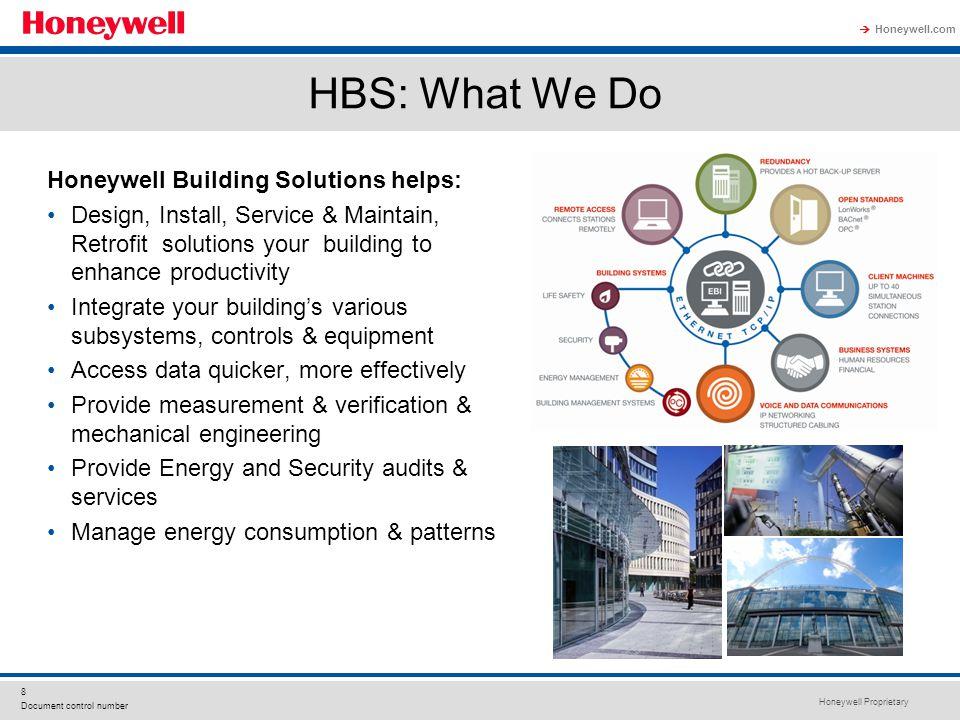 Honeywell Proprietary Honeywell.com  8 Document control number HBS: What We Do Honeywell Building Solutions helps: Design, Install, Service & Maintai