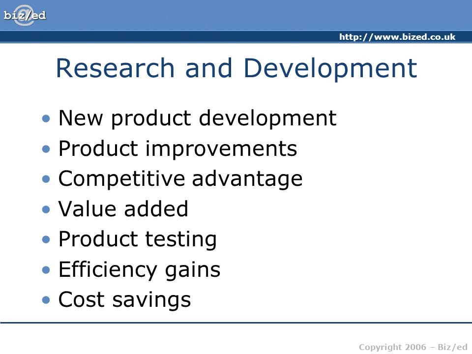 http://www.bized.co.uk Copyright 2006 – Biz/ed Organisation Charts Marketing Sales Production Finance R&D Circular/Flat