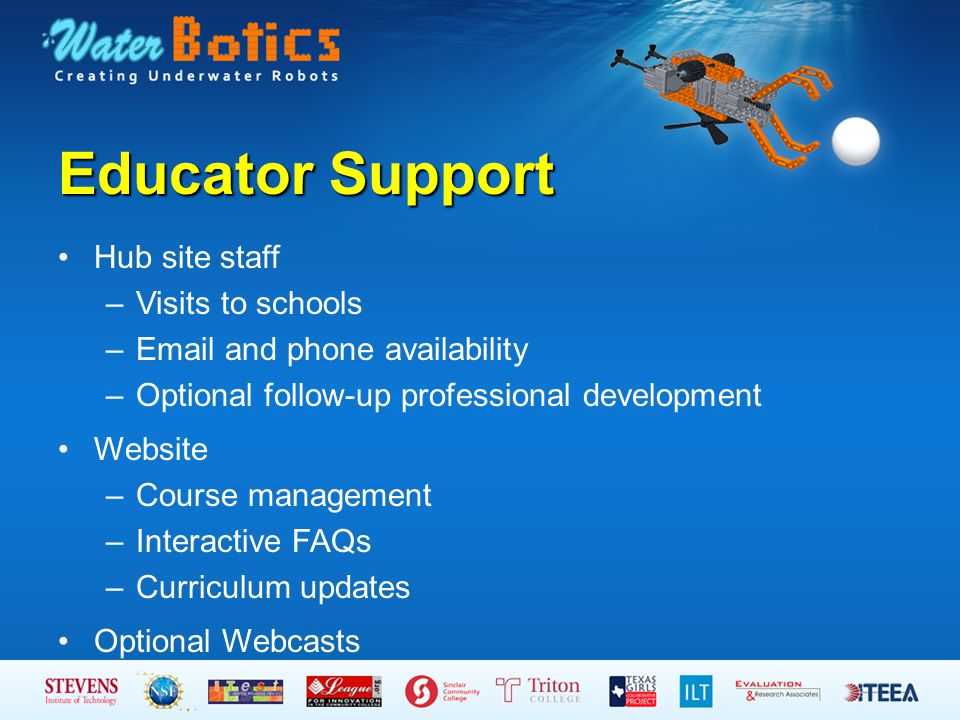 Educator Support Hub site staff –Visits to schools –Email and phone availability –Optional follow-up professional development Website –Course manageme