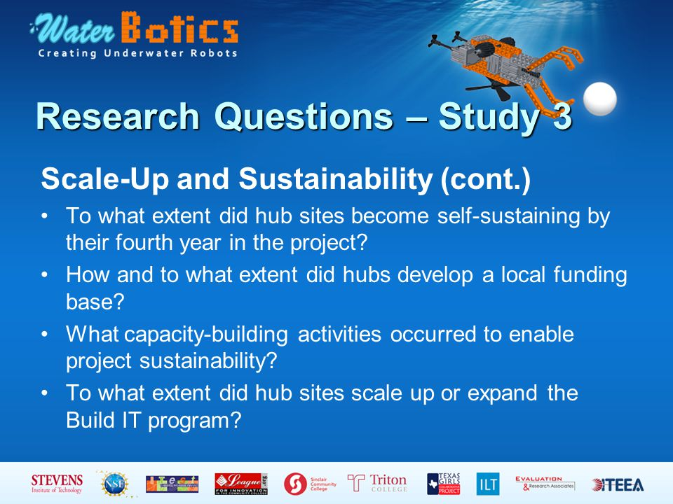 Research Questions – Study 3 Scale-Up and Sustainability (cont.) To what extent did hub sites become self-sustaining by their fourth year in the project.