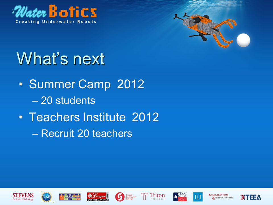 What's next Summer Camp 2012 –20 students Teachers Institute 2012 –Recruit 20 teachers