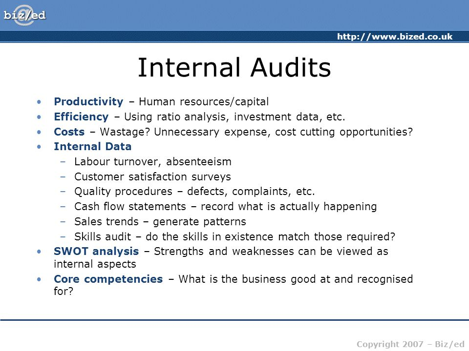 http://www.bized.co.uk Copyright 2007 – Biz/ed Internal Audits Productivity – Human resources/capital Efficiency – Using ratio analysis, investment data, etc.