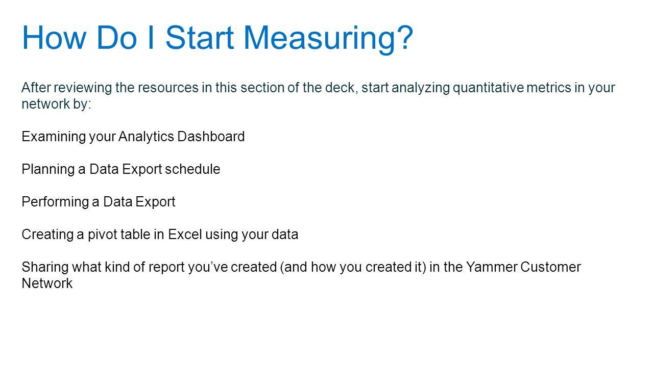 How Do I Start Measuring.