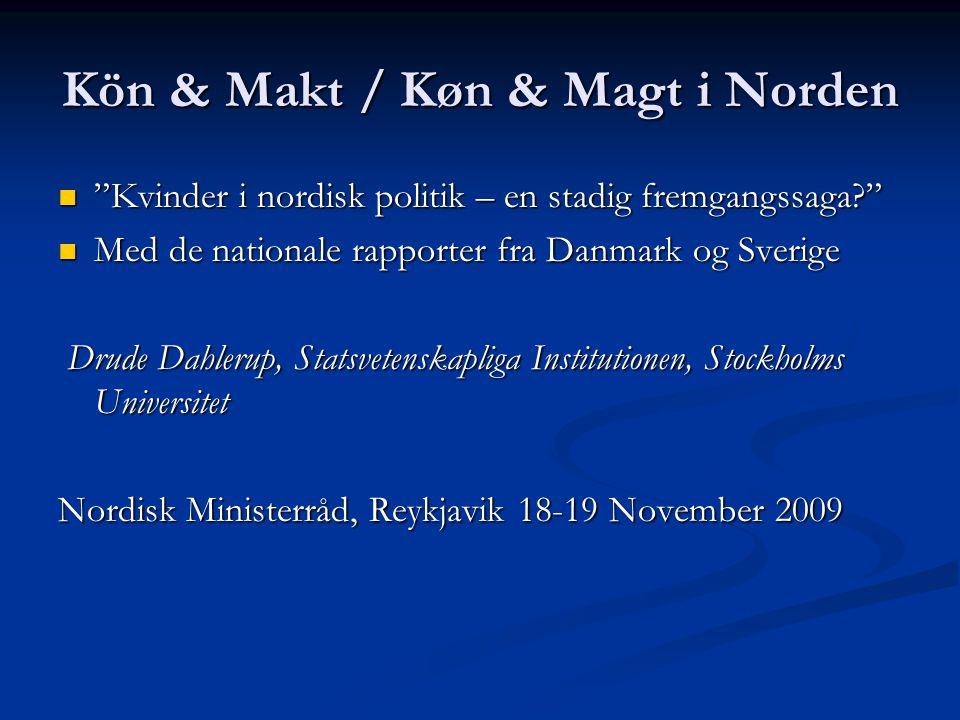 """Kön & Makt / Køn & Magt i Norden """"Kvinder i nordisk politik – en stadig fremgangssaga?"""" """"Kvinder i nordisk politik – en stadig fremgangssaga?"""" Med de"""