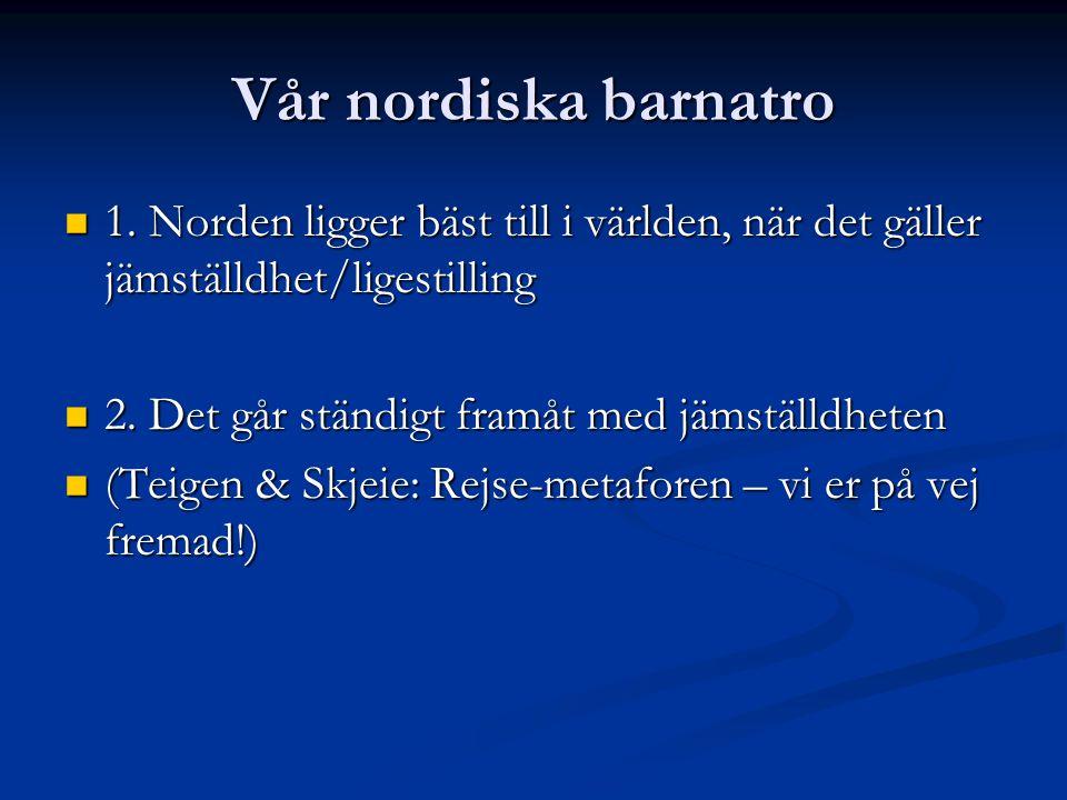 Vår nordiska barnatro 1. Norden ligger bäst till i världen, när det gäller jämställdhet/ligestilling 1. Norden ligger bäst till i världen, när det gäl
