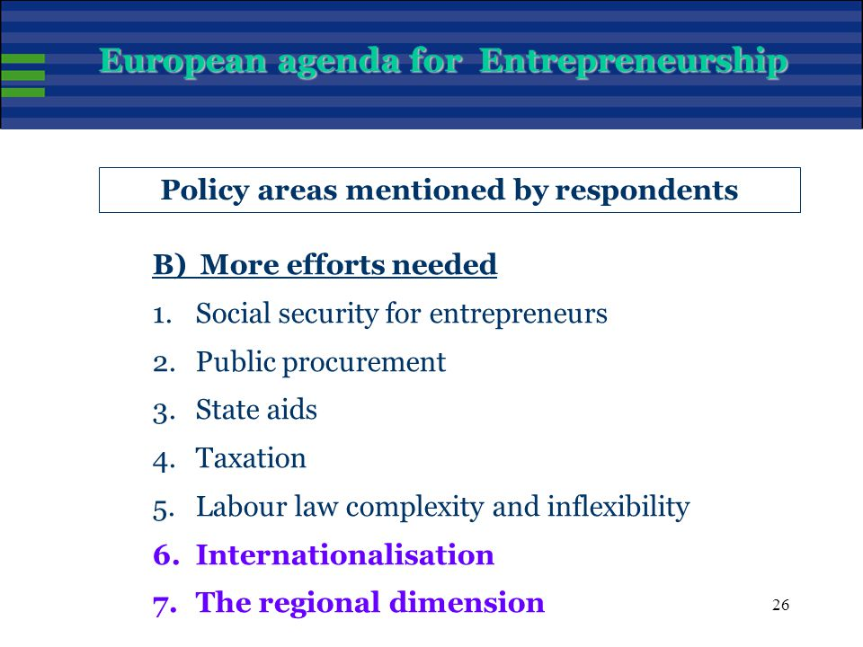 26 Policy areas mentioned by respondents B) More efforts needed 1.Social security for entrepreneurs 2.Public procurement 3.State aids 4.Taxation 5.Labour law complexity and inflexibility 6.Internationalisation 7.The regional dimension European agenda for Entrepreneurship