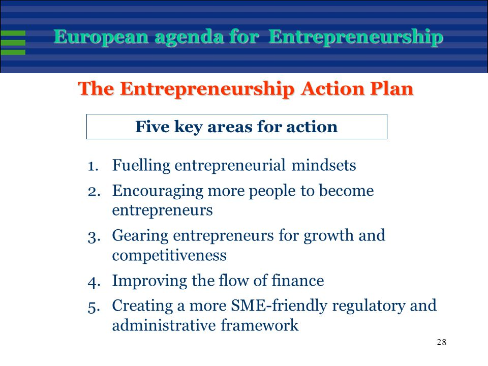 28 Five key areas for action 1.Fuelling entrepreneurial mindsets 2.Encouraging more people to become entrepreneurs 3.Gearing entrepreneurs for growth and competitiveness 4.Improving the flow of finance 5.Creating a more SME-friendly regulatory and administrative framework The Entrepreneurship Action Plan European agenda for Entrepreneurship