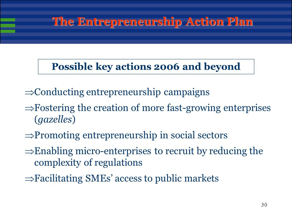 30 Possible key actions 2006 and beyond  Conducting entrepreneurship campaigns  Fostering the creation of more fast-growing enterprises (gazelles)  Promoting entrepreneurship in social sectors  Enabling micro-enterprises to recruit by reducing the complexity of regulations  Facilitating SMEs' access to public markets The Entrepreneurship Action Plan