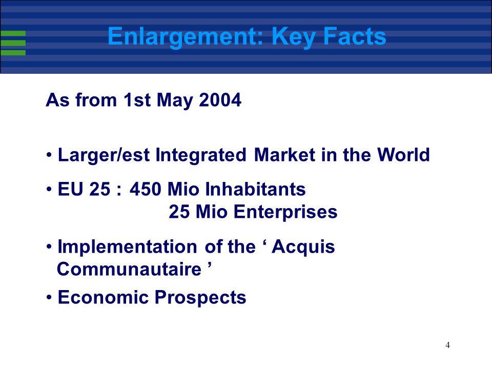 4 Enlargement: Key Facts As from 1st May 2004 Larger/est Integrated Market in the World EU 25 :450 Mio Inhabitants 25 Mio Enterprises Implementation of the ' Acquis Communautaire ' Economic Prospects