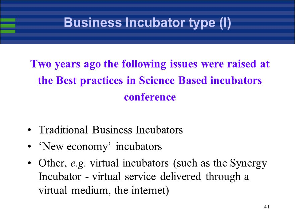 41 Business Incubator type (I) Two years ago the following issues were raised at the Best practices in Science Based incubators conference Traditional Business Incubators 'New economy' incubators Other, e.g.