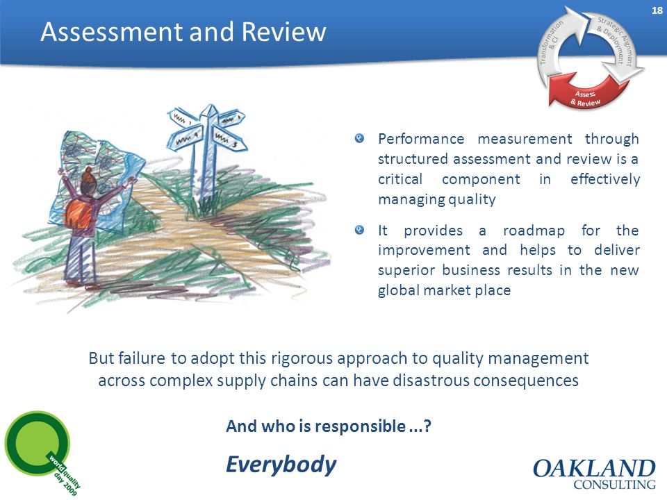18 Assessment and Review Performance measurement through structured assessment and review is a critical component in effectively managing quality It provides a roadmap for the improvement and helps to deliver superior business results in the new global market place But failure to adopt this rigorous approach to quality management across complex supply chains can have disastrous consequences And who is responsible....