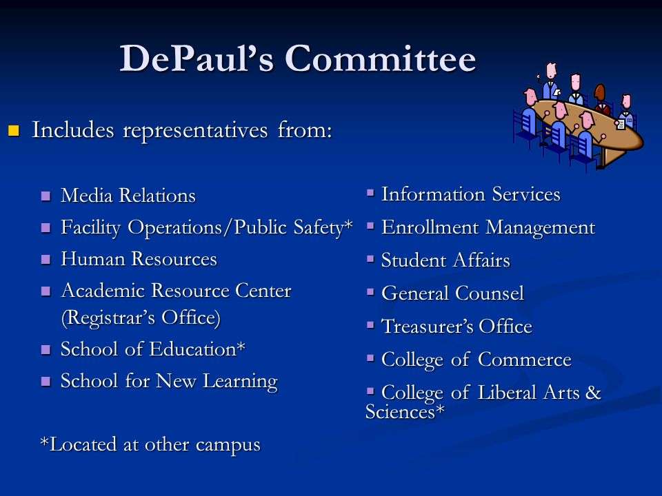 DePaul's Committee Includes representatives from: Includes representatives from: Media Relations Media Relations Facility Operations/Public Safety* Facility Operations/Public Safety* Human Resources Human Resources Academic Resource Center (Registrar's Office) Academic Resource Center (Registrar's Office) School of Education* School of Education* School for New Learning School for New Learning *Located at other campus  Information Services  Enrollment Management  Student Affairs  General Counsel  Treasurer's Office  College of Commerce  College of Liberal Arts & Sciences*