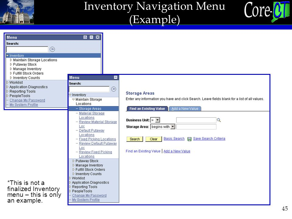 45 Inventory Navigation Menu (Example) *This is not a finalized Inventory menu – this is only an example.