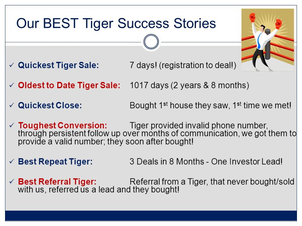 Our BEST Tiger Success Stories Quickest Tiger Sale: 7 days.