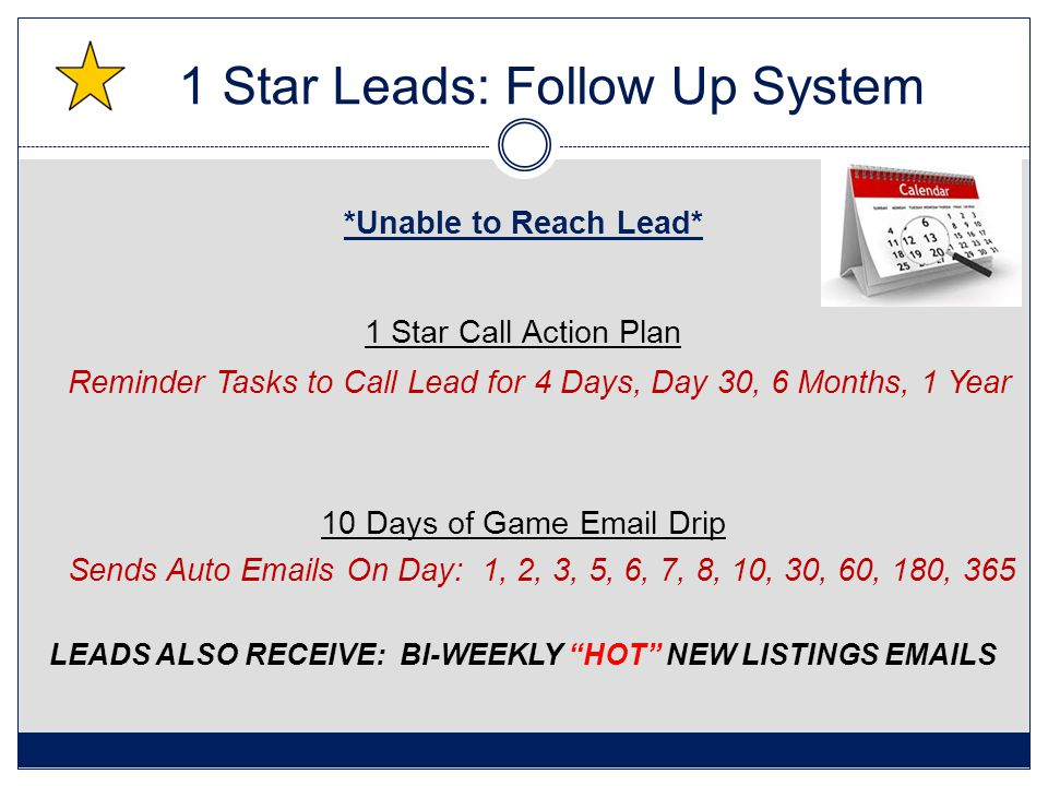 1 Star Leads: Follow Up System *Unable to Reach Lead* 1 Star Call Action Plan Reminder Tasks to Call Lead for 4 Days, Day 30, 6 Months, 1 Year 10 Days of Game Email Drip Sends Auto Emails On Day: 1, 2, 3, 5, 6, 7, 8, 10, 30, 60, 180, 365 LEADS ALSO RECEIVE: BI-WEEKLY HOT NEW LISTINGS EMAILS