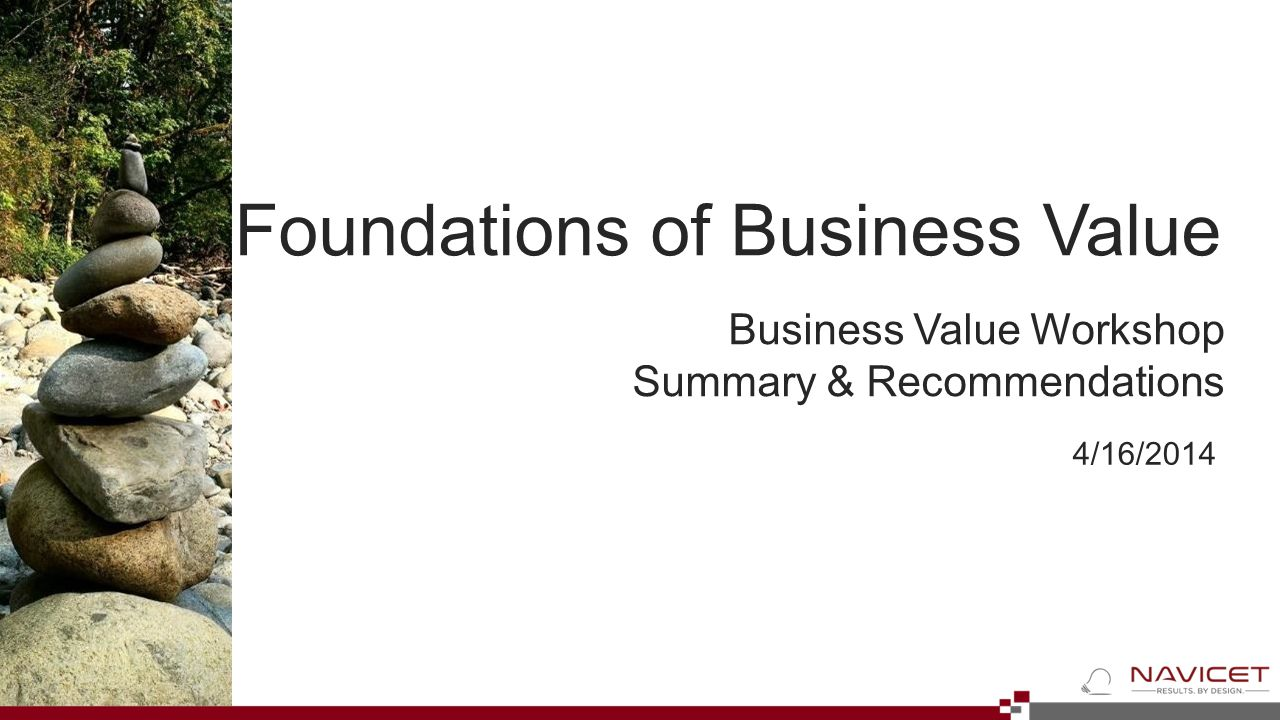 4/16/2014 Business Value Workshop Summary & Recommendations Foundations of Business Value