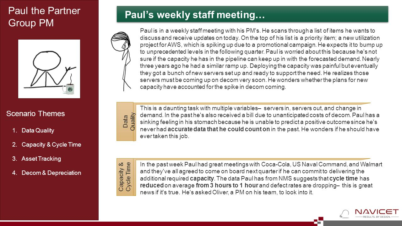 Paul's weekly staff meeting… Paul the Partner Group PM 1.Data Quality 2.Capacity & Cycle Time 3.Asset Tracking 4.Decom & Depreciation Scenario Themes