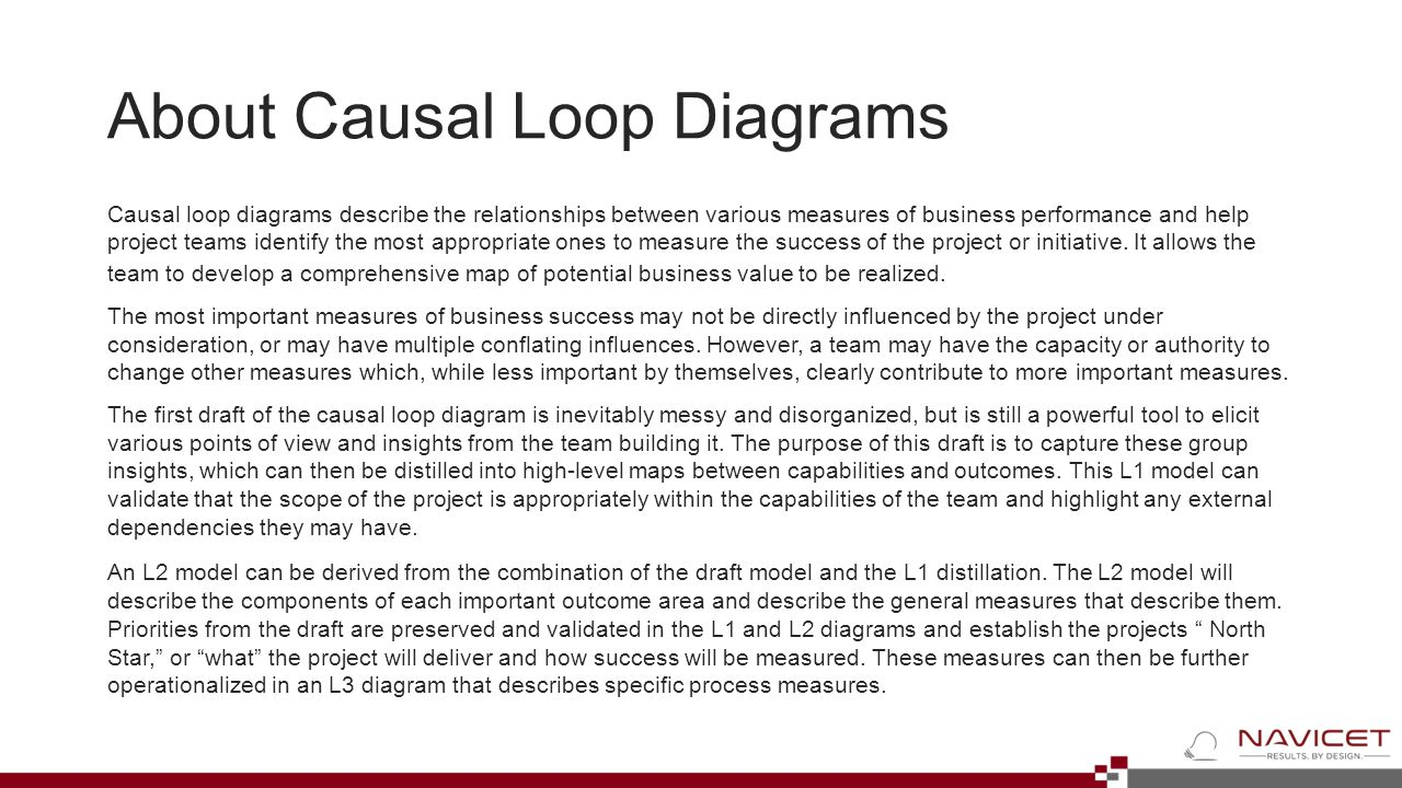 About Causal Loop Diagrams Causal loop diagrams describe the relationships between various measures of business performance and help project teams ide