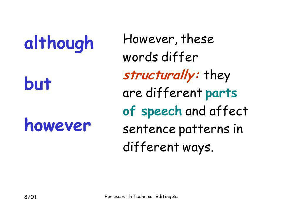8/01 For use with Technical Editing 3e editing: original sentence When editors analyze sentence structure, they punctuate correctly; although it is easy to confuse different parts of speech.