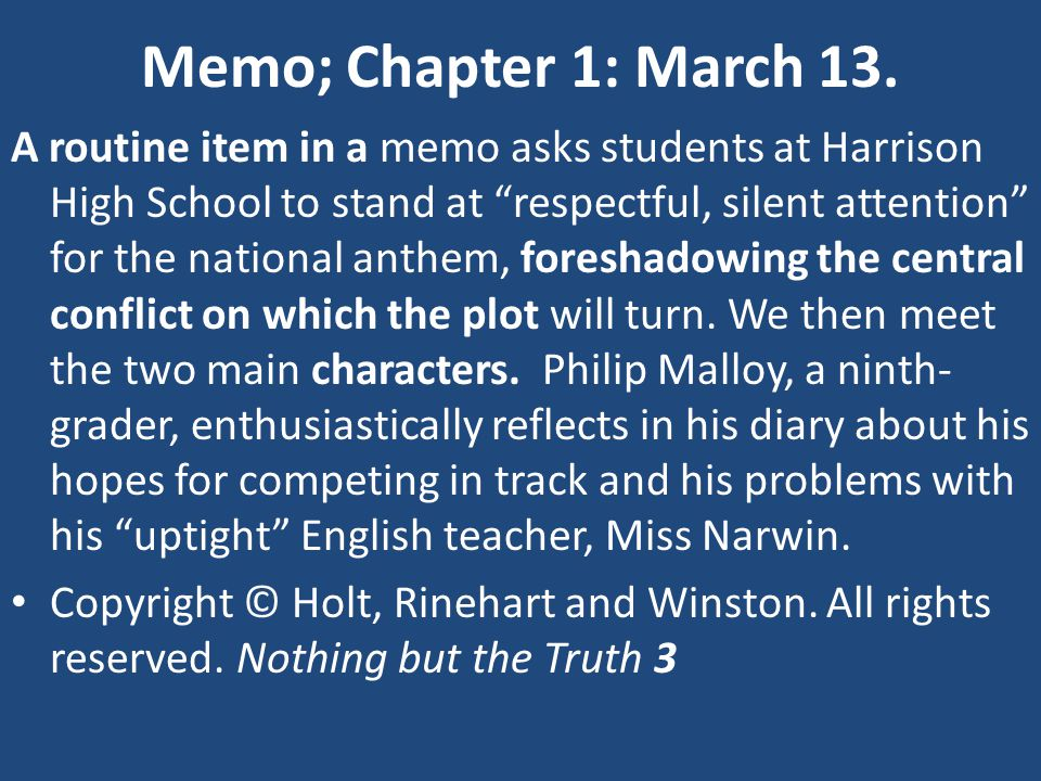 Response Topics– Chapter 9 Write an article for the school newspaper called Rules Trip Malloy using the major events of the story as it's happened so far.
