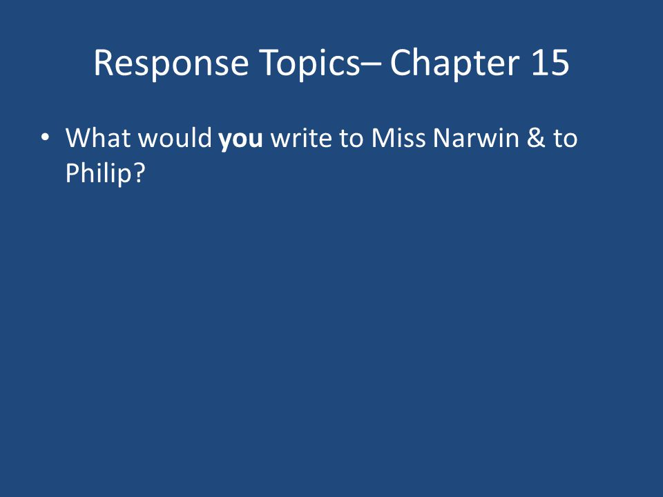 Response Topics– Chapter 15 What would you write to Miss Narwin & to Philip?