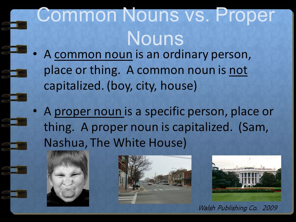 Common and Proper Nouns Walsh Publishing Co. 2009