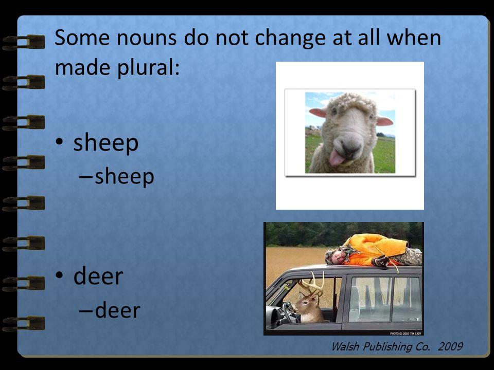 Some nouns that end in o change to es when made plural. Some change to s: kangaroo – kangaroos potato – potatoes Walsh Publishing Co. 2009